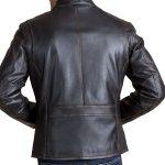 Black Stand Collar Faux Leather Jacket For Biker Men