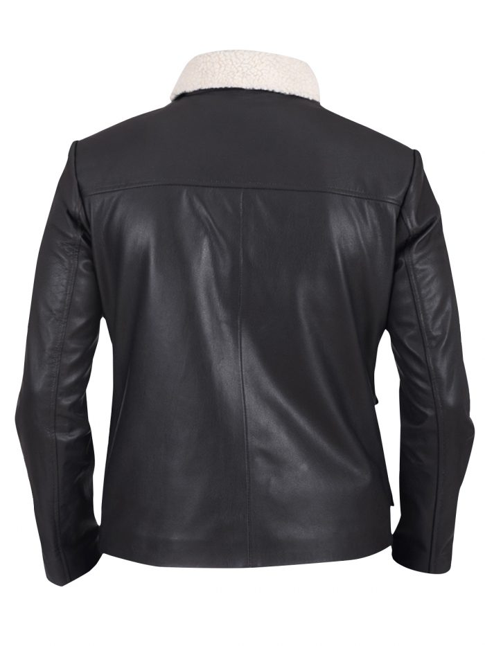 Black Buttons Real Leather Jacket For Men