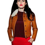Faux Tan Brown Leather Jacket for Women