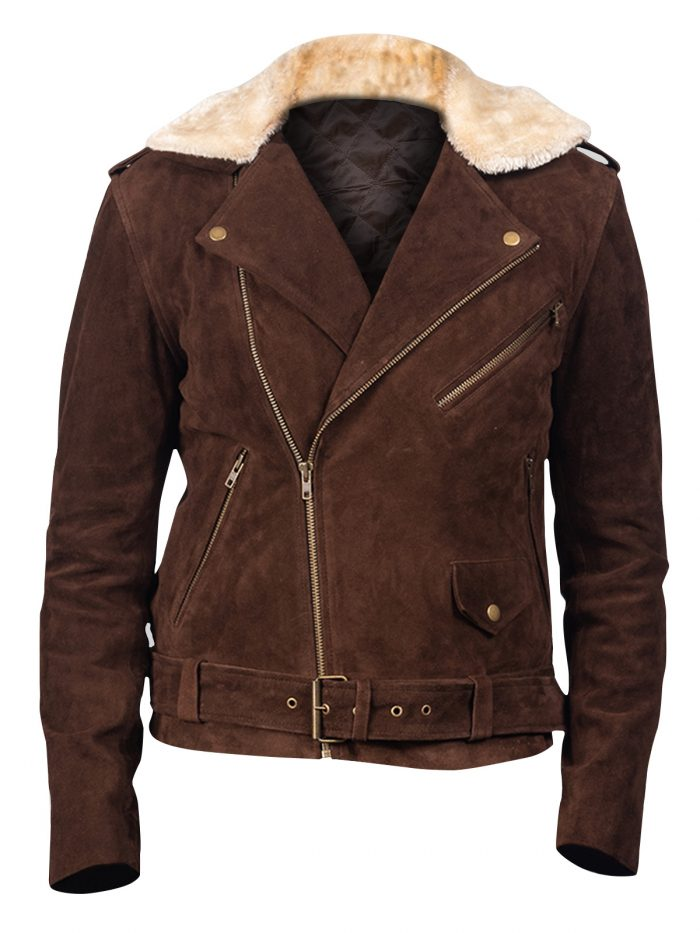 Stylish Dark Brown Suede Biker Jacket For Men