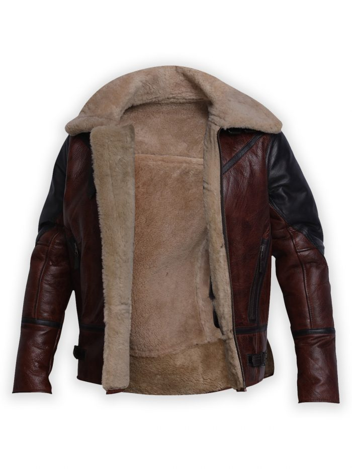 B3 Men Bomber Aviator Shearling Sharpa Jacket