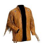 Genuine Western Cowboy Leather Jackets For Men With Fringe