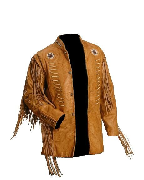Genuine Western Cowboy Leather Jackets For Men With Fringe