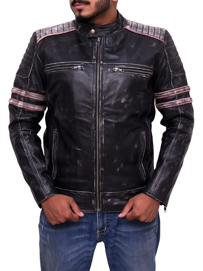 Motorcycle Racer Black Cafe Leather Jacket For Men