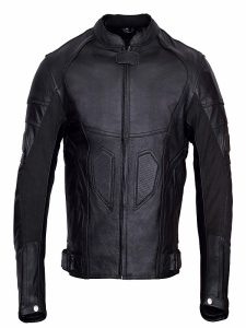 Motorcycle Padding Black Leather Jacket For Men