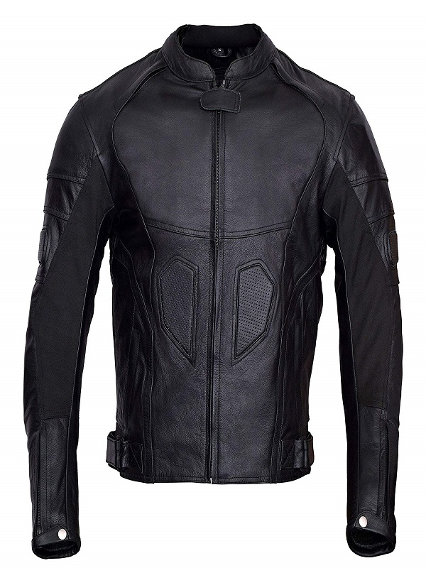 Motorcycle Padding Black Leather Jacket For Men