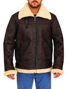 Bomber Fur Shearling Brown Leather Jacket For Men
