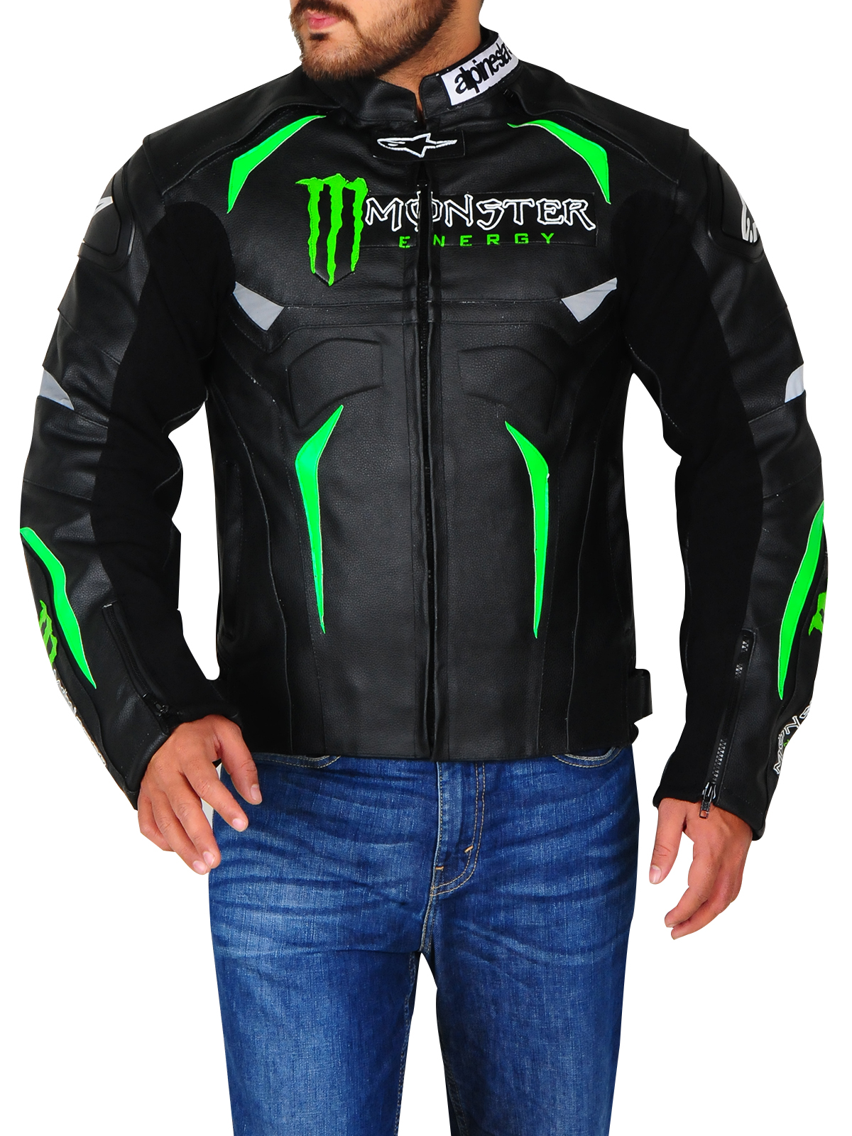 Real leather Monster Energy Alpinestars Biker Jacket Black