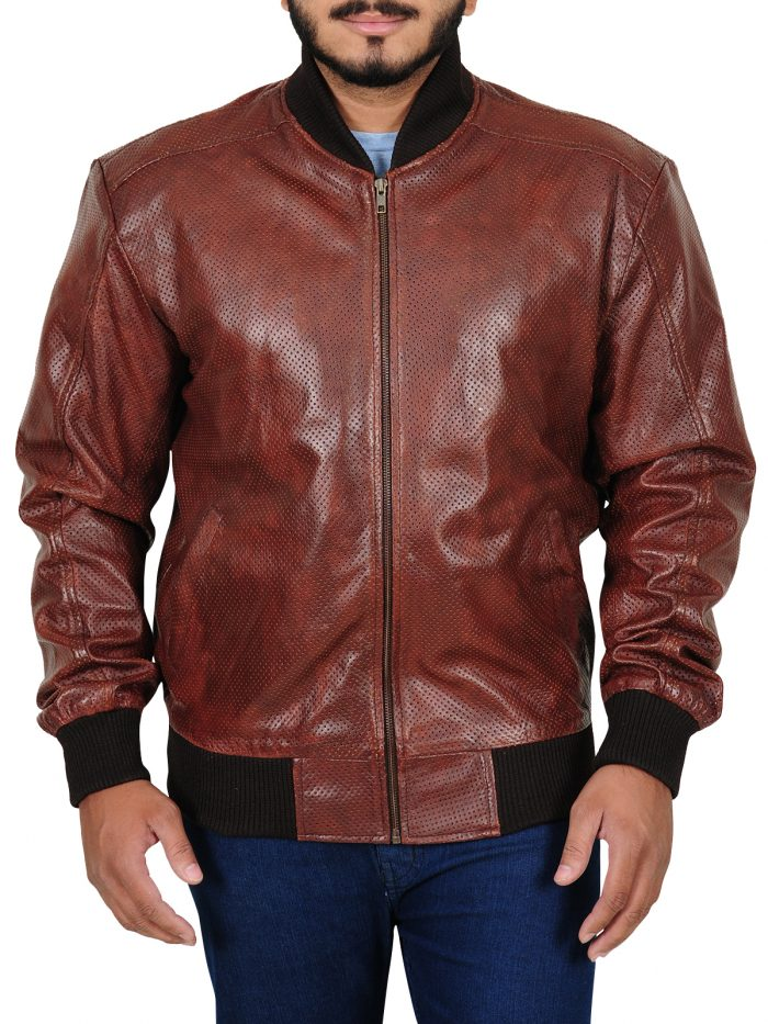 Nick Jonas Brown leather Jacket For Men