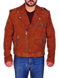Brown Nick Jonas Suede Leather Jacket For Men