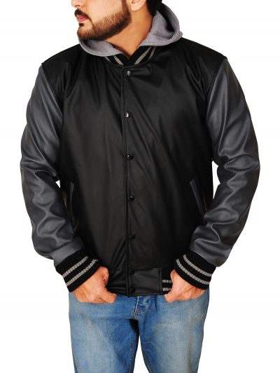 Black & Grey Obey Varsity Faux Leather Jacket For Men