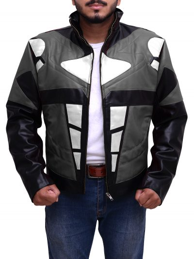 Men's Superhero Costume Mighty Power Rangers Grey Leather Jacket