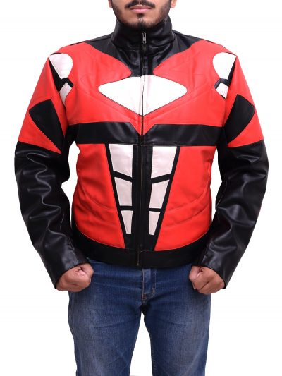Men's Superhero Costume Power Rangers Mighty Red Leather Jacket