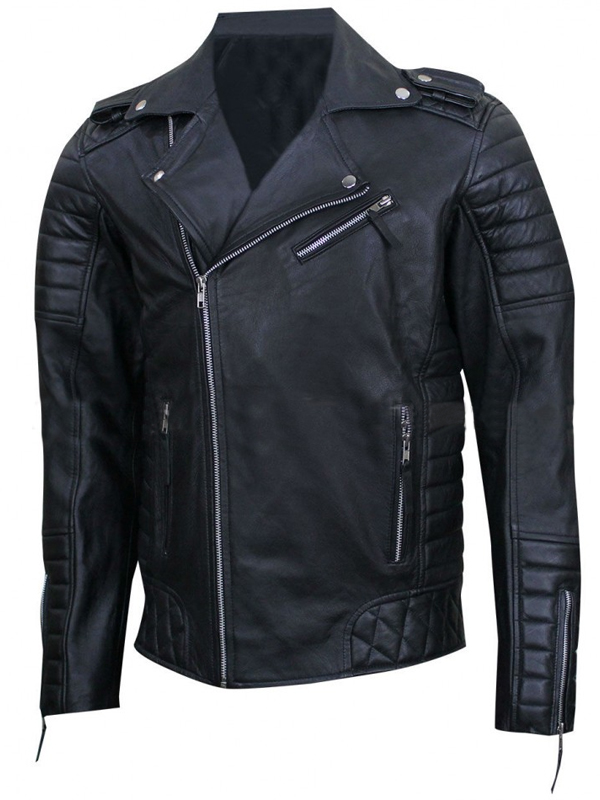 Black Prestige Homme MR18 Kay Michael Leather Jacket For Men
