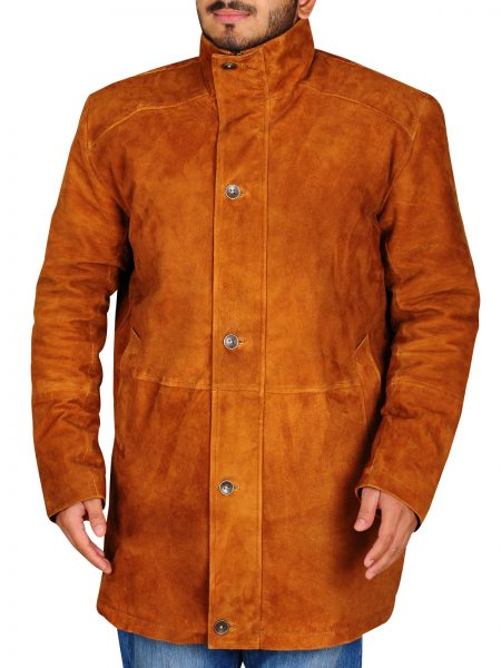 Robert Sheriff Walt Longmire Robert Taylor Camel & Dark Brown Leather Coat
