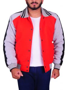 Ryan Gosling Varsity Red Fleece Jacket For Men
