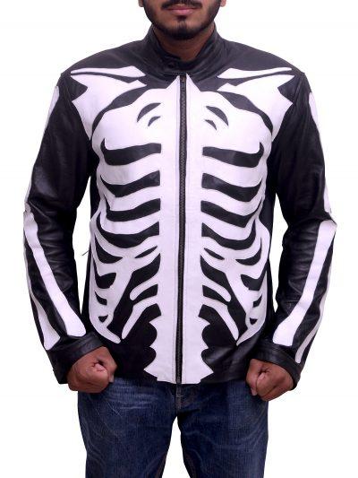Men's Black Skeleton Sketch Motorcycle Jacket