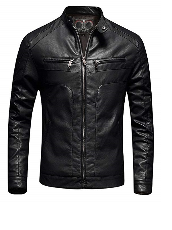 Men's Slim Fit Moto Bomber Biker Black Jackets