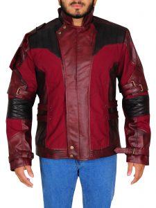 Maroon Star Lord Chris Pratt Leather Jacket For Men