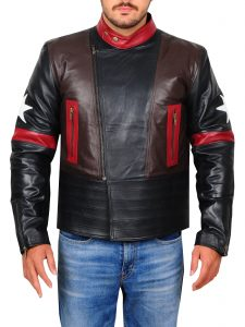 Multi Star Patch leather Jacket For Men
