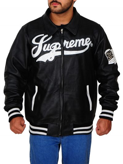 Men's Supreme Black Leather Jacket For Men