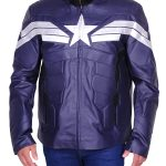 Men's Winter Soldier Captain America Blue Faux Leather Jacket