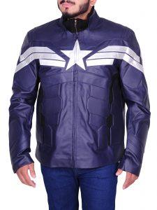 Men's Winter Soldier Captain America Blue Faux Leather Jacket