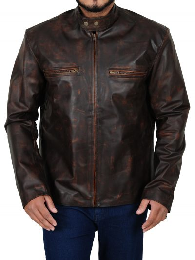 Tom Cruise Kennedys Premiere Distressed Brown Leather Jacket