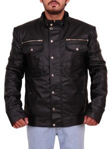 WWE Goldberg Black Hoodie Leather Jacket