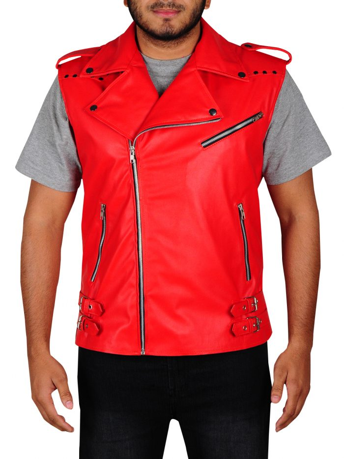 WWE Shinsuke Nakamura Red Faux Leather Vest For Men