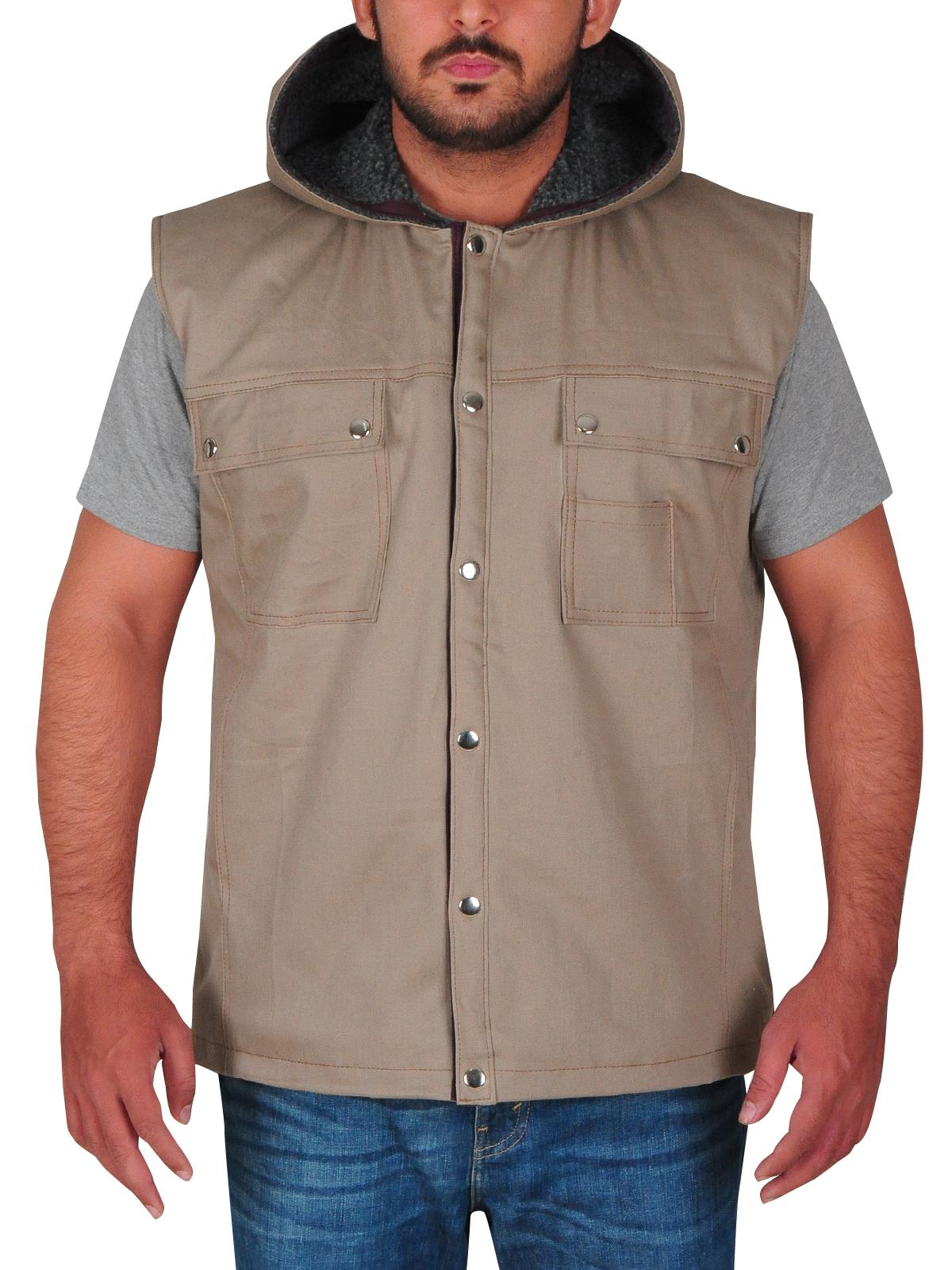 WWE Superstar Dave Bautista Light Brown Cotton Hooded Vest