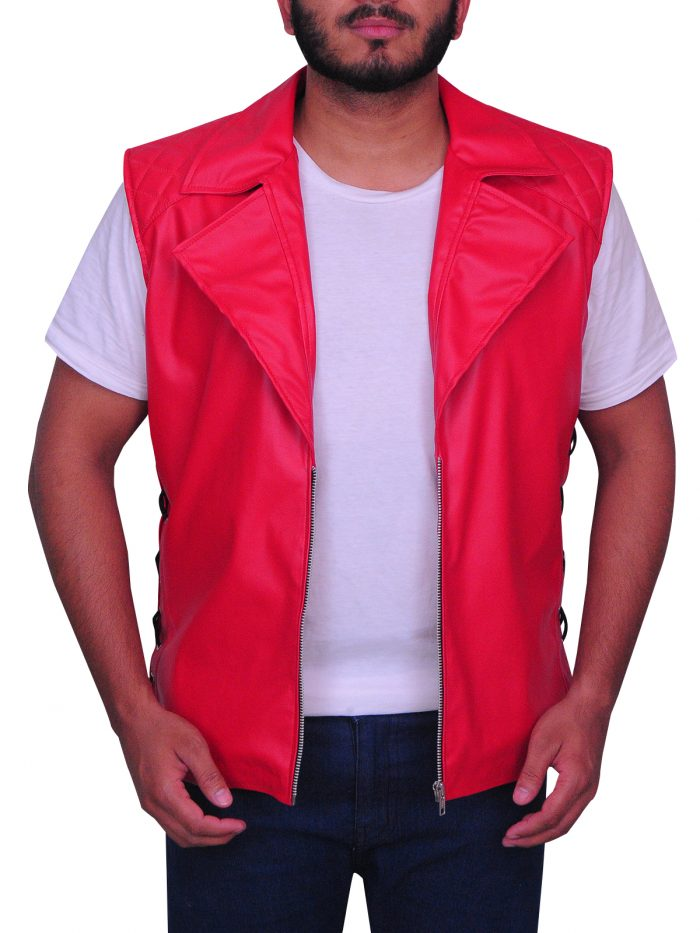 WWE Wrestler Shinsuke Nakamura Red Faux Leather Vest