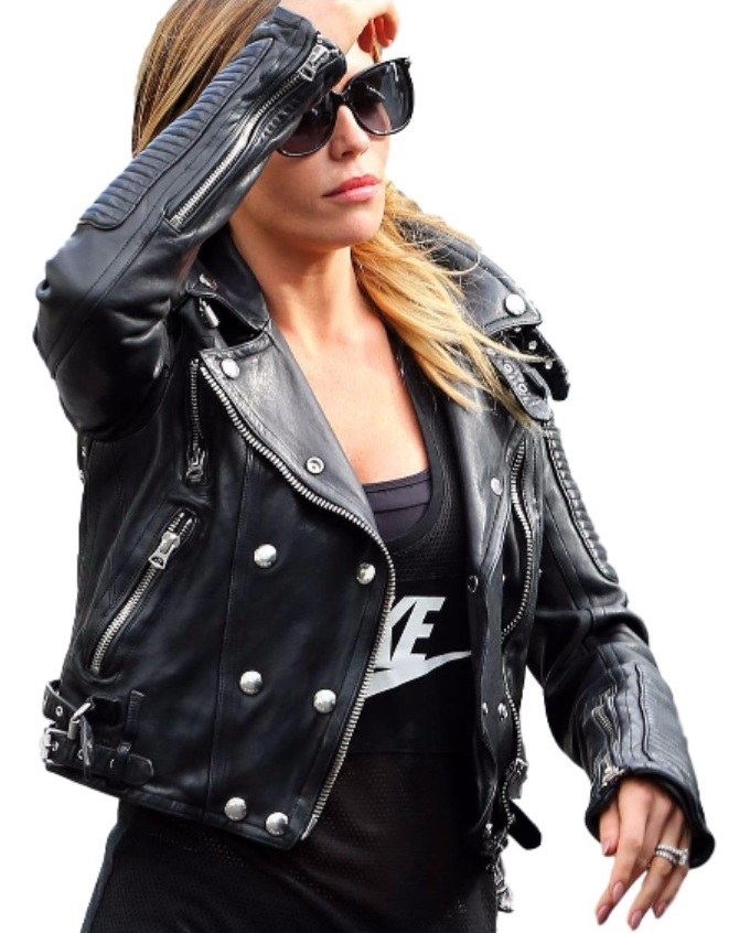 Abbey Clancy Biker Black Leather Jacket For Women