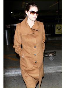 Alexandra Daddario Lax Airport Brown Long Coat