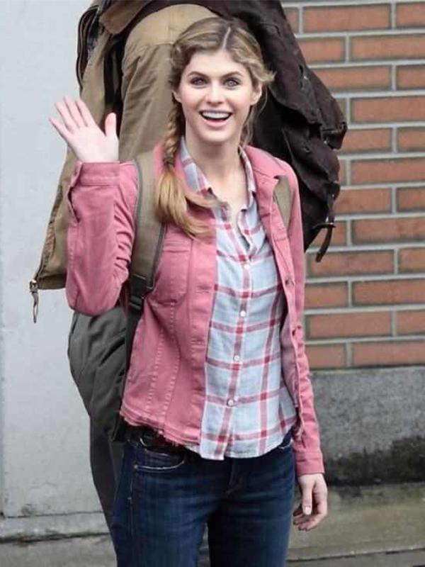 Pink Denim Alexandra Daddario Percy Jackson Jacket For Women
