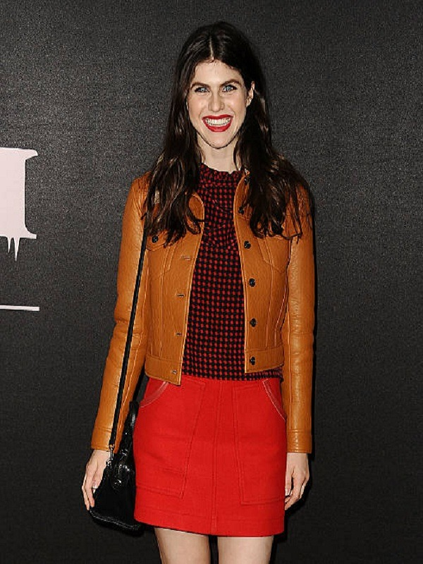 Alexandra Daddario Stylish Tan Brown Genuine Leather Jacket