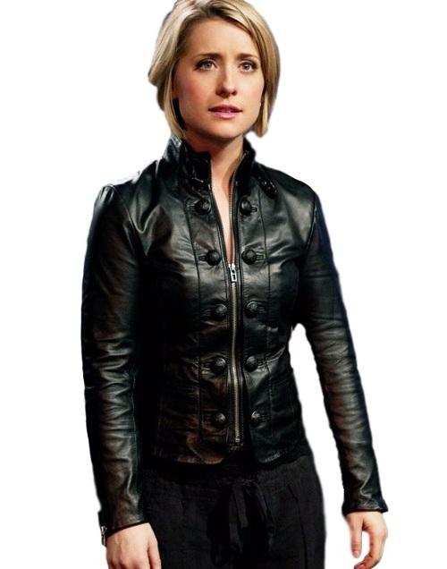 Allison Mack Smallville Black Faux Leather Jacket