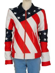Faux Leather American Flag Jacket For Women