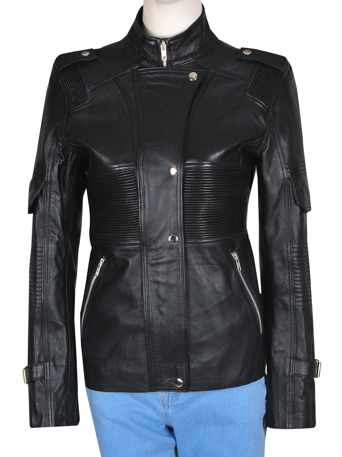 Stylish Amanda Tapping Sanctuary Black Leather Jacket