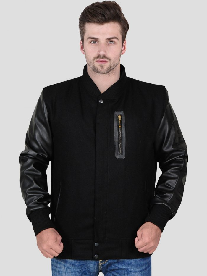 Black Casual Fleece Jacket with Faux Leather Sleeve For Men