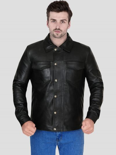 Men's Casual Black Genuine Leather Jacket