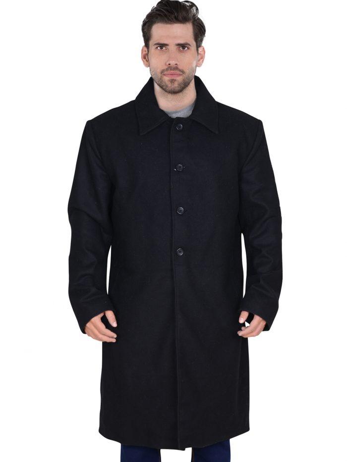 Black Wool Long Trench Coat For Men