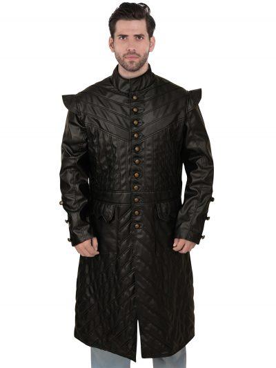 Black Long Button Designed leather Coat
