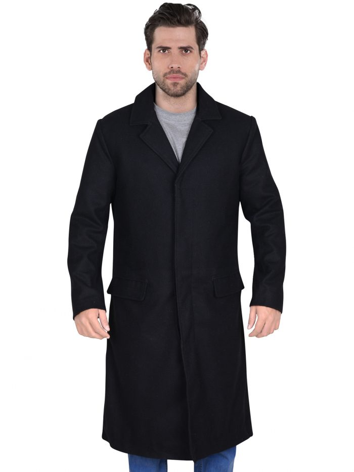 Wool Black Long Trench Coat For Men