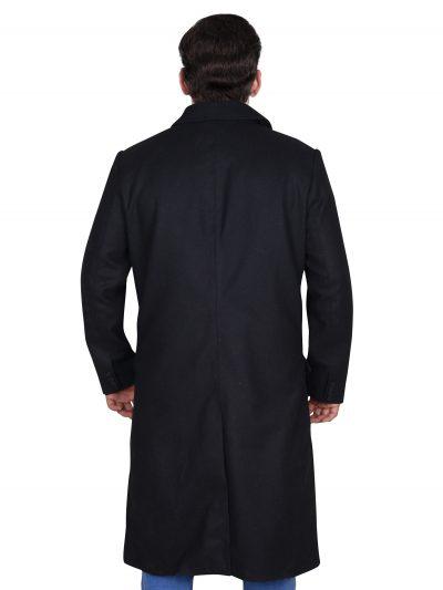 Wool Black Long Trench Coat For Men