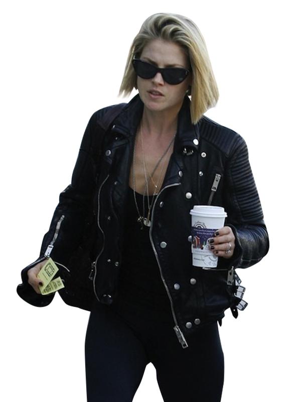 Ali Larter Quilted Black Leather Biker Jacket For Women