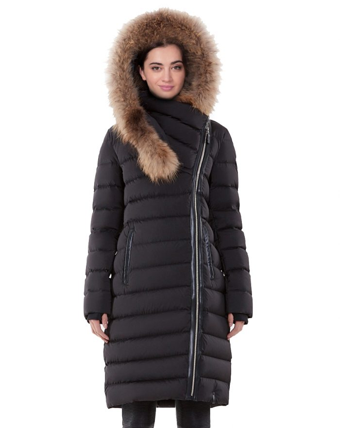 Long Down Puffer Coat with Fur and Sewed Dynamic Stretch Outside For Women's
