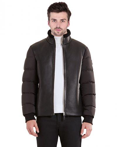 Shearling Bomber Quilted Down Jacket For Men