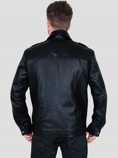 Black Real Leather Jacket With Shirt Style Collar For Men's
