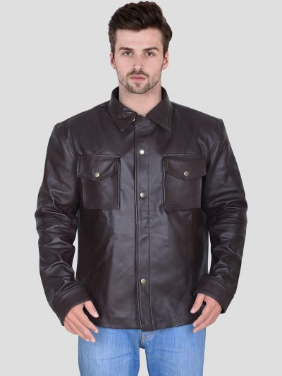 Black Faux Leather Outfit Jacket For Men